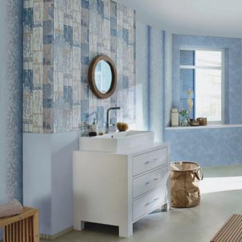 Papier peint salle de bain intissé lessivable effet bois vieilli