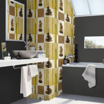 Papier peint salle de bain vinyle lessivable ZEN