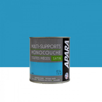 Peinture Apara multi-supports  Murs, plafonds, boiseries, plinthes... bleu tahiti satin 0,5L
