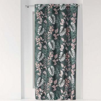 Rideau tissu imprimé jungle vert kaki