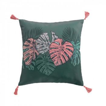 Coussin carré vert kaki tropical