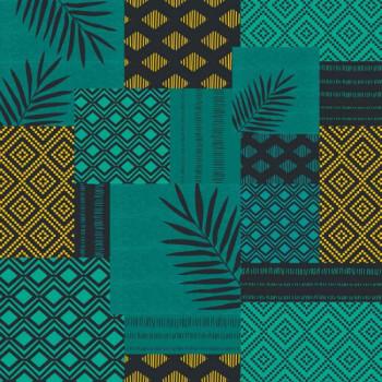 Toile cirée imprimée à motifs bleu végétal