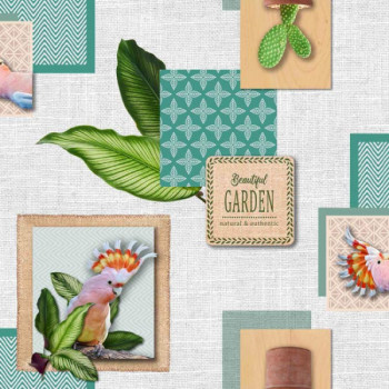 Toile cirée imprimée à motifs d'oiseaux et de jardin