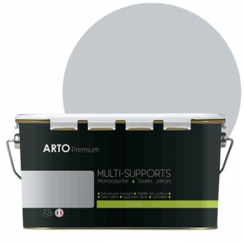 Peinture arto premium multi - supports murs, plafonds, boiseries, plinthes et radiateurs gris mohair satin  2,5 L
