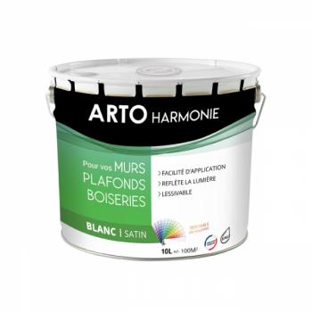 Peinture Arto Harmonie Murs, plafonds et boiserie intérieur blanc satin 10L