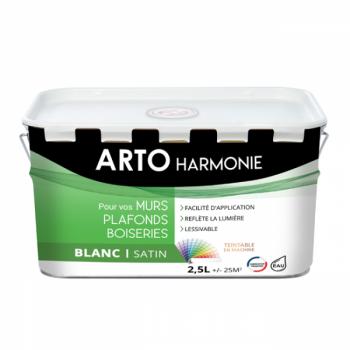 Peinture Arto Harmonie Murs, plafonds et boiserie intérieur blanc satin 2,5L