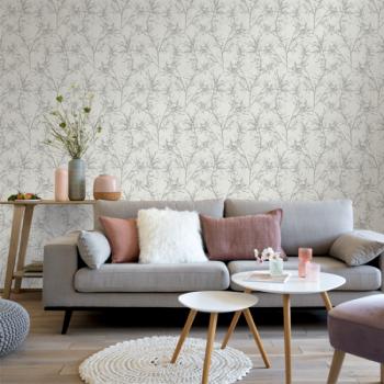 Papier peint intissé charme végétal beige