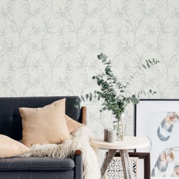 Papier peint intissé charme végétal gris