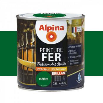 Peinture alpina antirouille spéciale fer vert mélèze brillant 0,5L