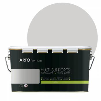 Peinture arto premium multi - supports murs, plafonds, boiseries, plinthes et radiateurs gris clair satin  2,5 L