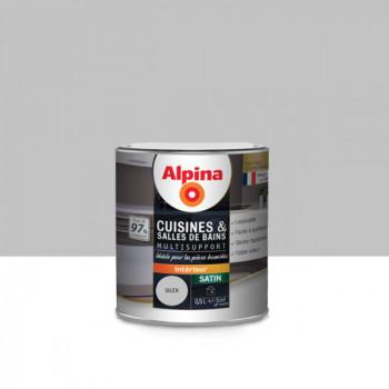 Peinture alpina cuisine & salle de bain gris silex satin 0,5L