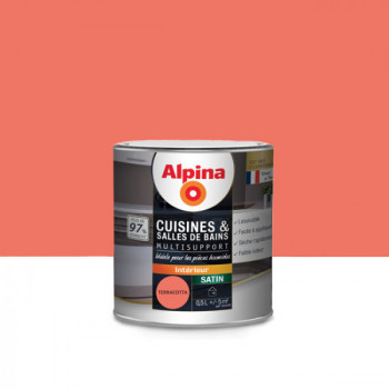 Peinture alpina cuisine & salle de bain terracotta satin 0,5L