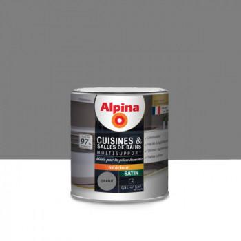 Peinture alpina cuisine & salle de bain gris granit satin 0,5L