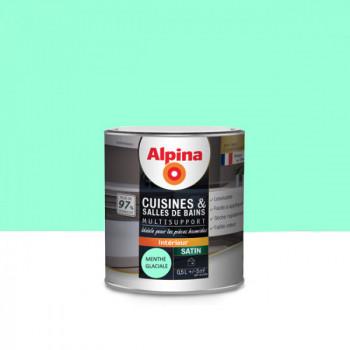 Peinture alpina cuisine & salle de bain menthe glaciale satin 0,5L