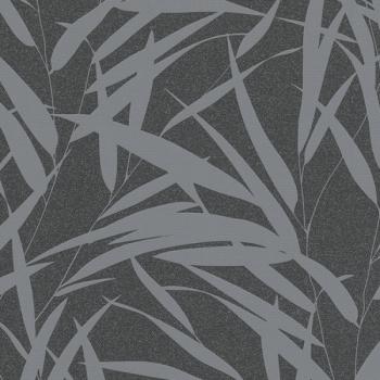 Papier peint intissé feuille de bambou gris