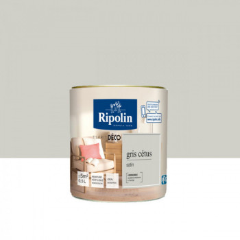 Peinture Ripolin Esprit Déco Murs, plafonds, boiseries et radiateurs gris cetus satin 0,5L