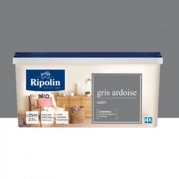 Peinture Ripolin Esprit Déco Murs, plafonds, boiseries et radiateurs gris ardoise satin 2,5L