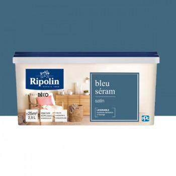 Peinture Ripolin Esprit Déco Murs, plafonds, boiseries et radiateurs bleu seram satin 2,5L