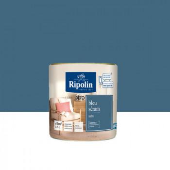 Peinture Ripolin Esprit Déco Murs, plafonds, boiseries et radiateurs bleu seram satin 0,5L