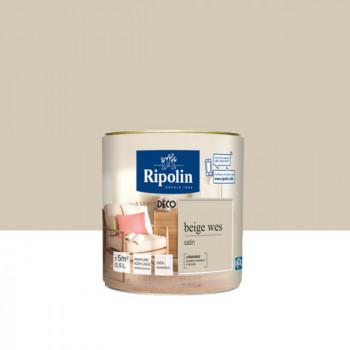 Peinture Ripolin Esprit Déco Murs, plafonds, boiseries et radiateurs beige wes satin 0,5L