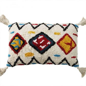 Coussin rectangle berbère ethnique blanc et multicolore 30x50 cm