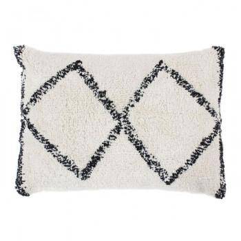 Coussin rectangle berbère ethnique blanc et noir 30x50 cm