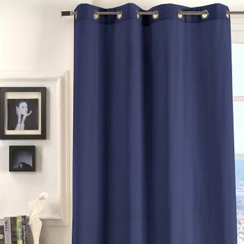 Rideau œillets tissu bleu marine