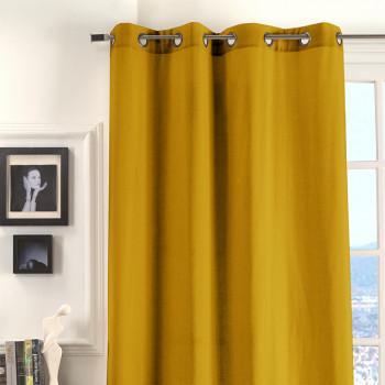Rideau œillets tissu jaune