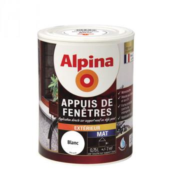 Peinture Alpina spécial appuis de fenêtres blanc satin 0,75L