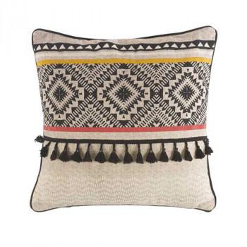 Coussin carré beige et marron motif aztèque 45x45