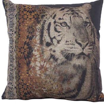 Coussin carré noir tête de tigre 40x40 cm