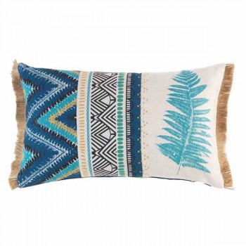 Coussin rectangulaire jute bleu motif aztèque 30x50 cm