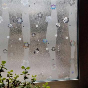 Film repositionnable motif fleurs gris 90 cm