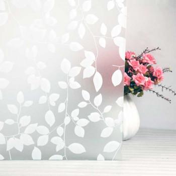 Film repositionnable motif feuilles blanc 90 cm