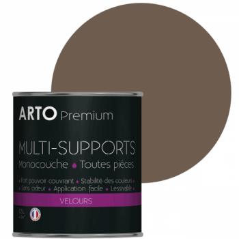 Peinture arto premium multi - supports murs, plafonds, boiseries, plinthes et radiateurs brun tanne velours 0,5 L