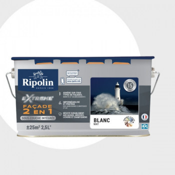 Peinture Ripolin extrême façade 2 en 1 blanc mat 2,5L