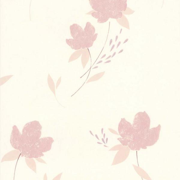 Papier peint intissé fleur rose