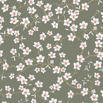 Tissu percale floral vert sauge oekotex 150 cm