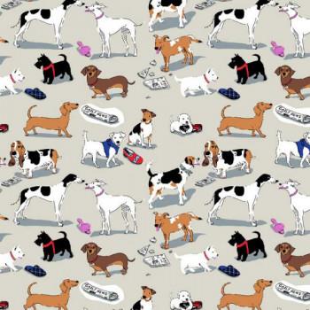 Tissu percale motif chien sauge oekotex 150 cm