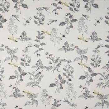 Tissu popeline imprimé végétal blanc 150 cm