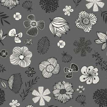 Tissu jacquard floral gris 140 cm