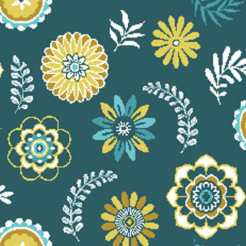 Tissu jacquard floral bleu et jaune 140 cm