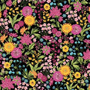 Tissu jacquard imprimé floral rose et noir 140 cm
