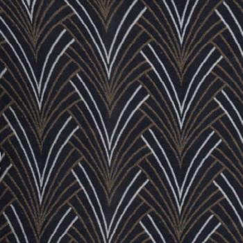 Tissu jacquard imprimé art déco noir 140 cm