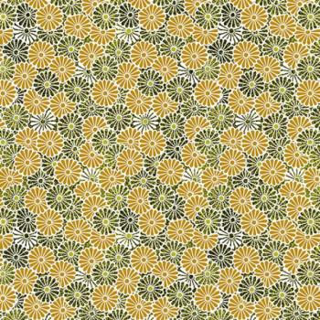 Tissu percale imprimé fleur jaune oekotex 150 cm