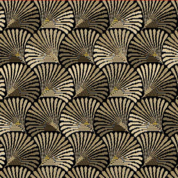 Tissu jacquard motif coquillage doré 140 cm