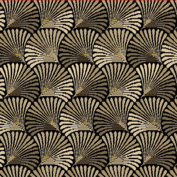 Tissu jacquard motif coquillage doré...