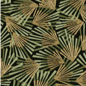 Tissu jacquard motif éventail kaki 140 cm
