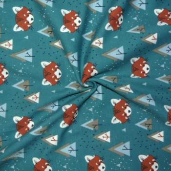 Tissu jersey bleu imprimé renard oekotex 150 cm