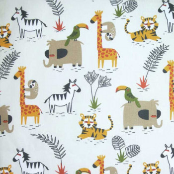 Tissu cretonne imprimé animaux savane oekotex 150 cm